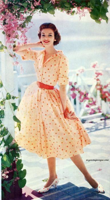 Платье в клетку 50 годы