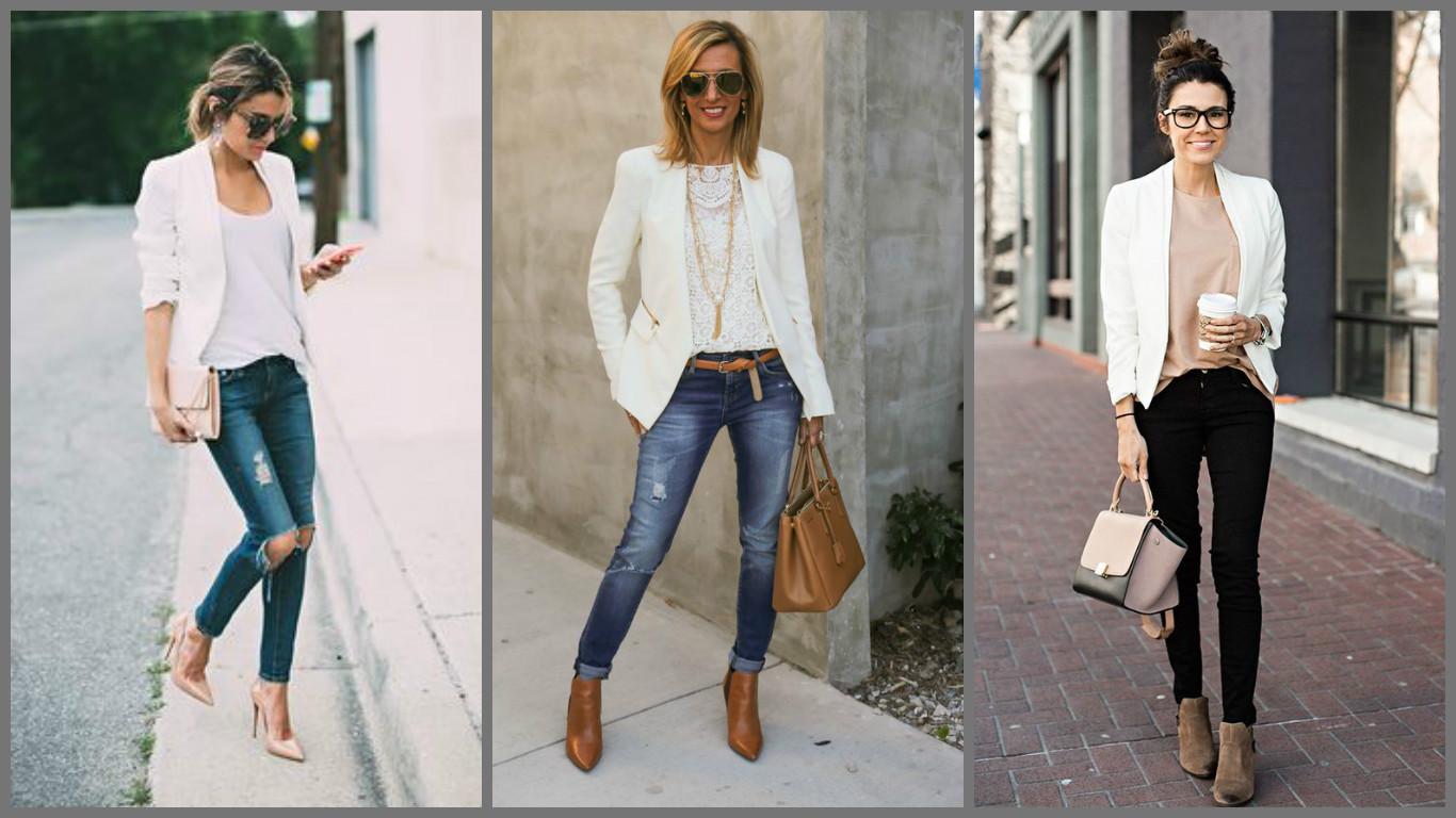 С чем носить белый пиджак женский фото в 2018